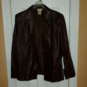 Brown crocodile feel button up leather jacket